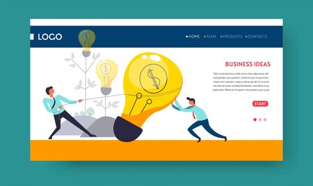 Light bulb business idea concept web page template vector businessman and entrepreneur teamwork and cooperation Internet site profit and earnings work and job office workers or employees startup Stock Vector - 133110370