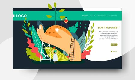Ecology and environment planting tree web page template Ilustracja