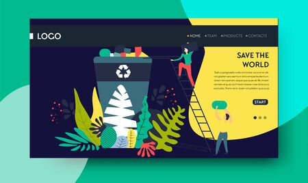 Save world recycling garbage web page template Ilustracja