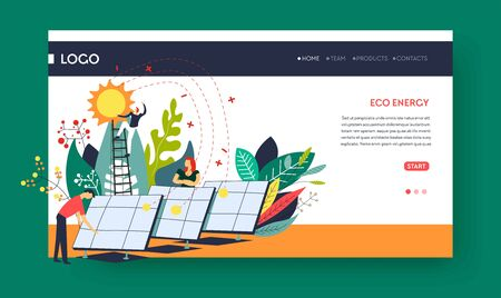 Eco energy solar batteries web pages templates