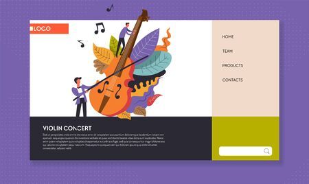 Violin and musician music concert web page template