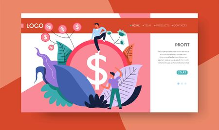 Profit business and earnings money coin and businessman web page template Illustration