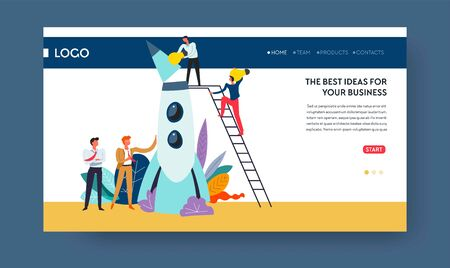 Best business idea web page template spaceship launch Illustration