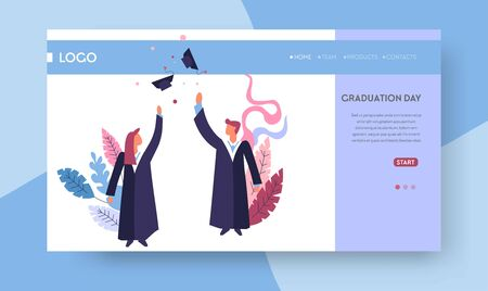 Graduation day web page template students in academic hats and mantles Banque d'images - 133110724