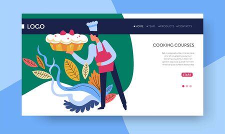 Modèle de page Web en ligne de cours de cuisine de cours de cuisson Vecteurs