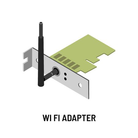 Internet Wifi adapter antenna and microscheme isolated electronic device vector wireless internet  Internet providing equipment and network antenna and signal transmission digital connection or link