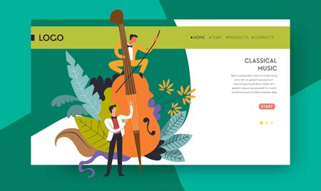 Violoncello playing classical music concert web page template vector musicians and cello online tickets order service performance or show melodies and symphonies orchestra musical instrument Vettoriali
