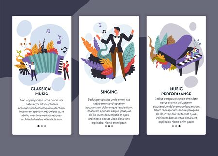 Singing and classical music performance web pages templates vector harmonic musical instrument male singer and piano live sound concert online tickets order musicians and vocalist Internet site Illustration
