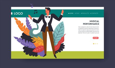 Musical performance or music concert singer web page template vector man in suit or vocalist singing song or opera art show online tickets order Internet site mockup melody notes and voice volume
