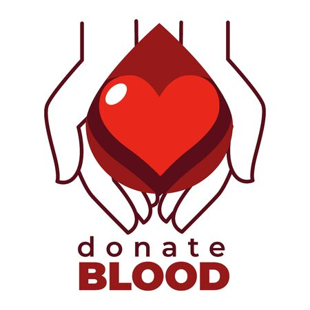 Donate blood isolated icon heart and hands charity