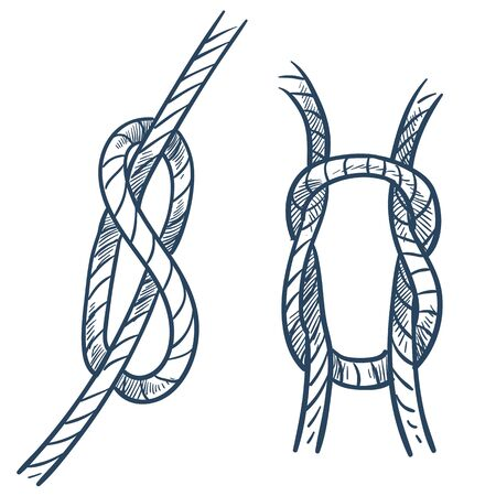 Élément de sécurité de navire d'équipement marin de noeud de corde Vecteurs