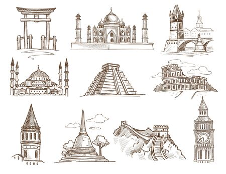 World landmarks famous buildings and architecture isolated sketches Illustration