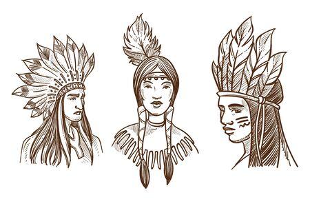 Les Amérindiens ont isolé des portraits de croquis d'Indiens