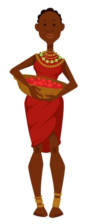 African woman with basket of fruits dress and jewelry tribe member