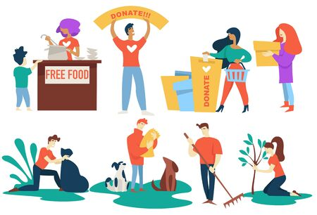 Donation and charity volunteers free food and pet protection Иллюстрация