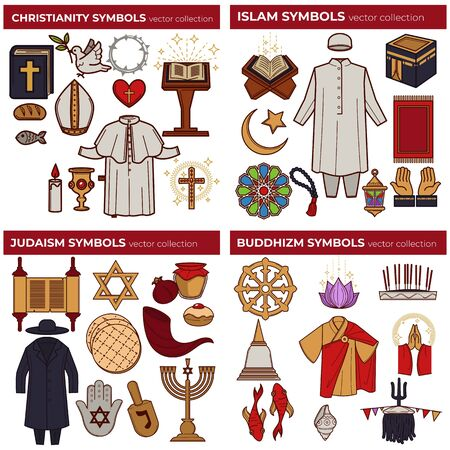 World religions symbols Christianity and Islam Judaism and Buddhism  イラスト・ベクター素材