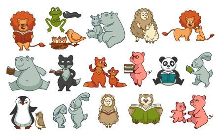 Animals childish book isolated characters wildlife and mammals
