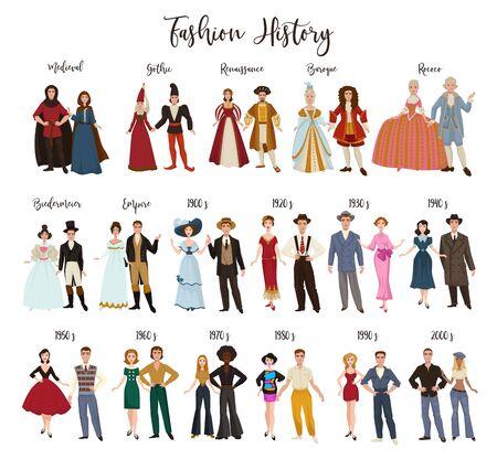 Conception de vêtements d'histoire de la mode et habillage d'époques historiques Vecteurs