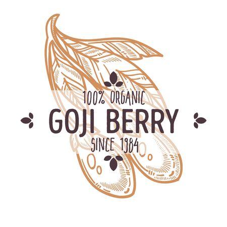 Goji berry isolated icon organic exotic food Çizim