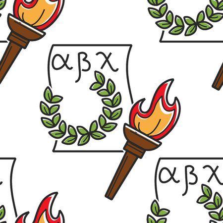 Greek alphabet laurel wreath and torch seamless pattern Çizim