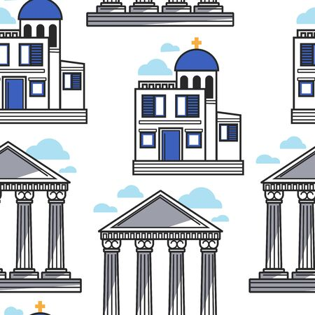 Greek pillars and church Greece architecture seamless pattern Stock Illustratie