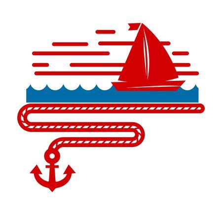 Sailboat isolated marine icon ship in sea and ocean Illusztráció