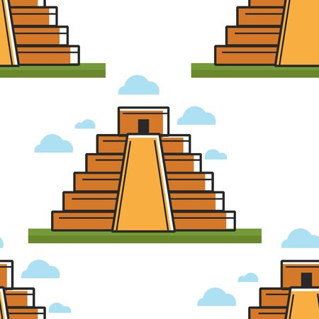 Mayan pyramid Mexico landmark seamless pattern ancient architecture