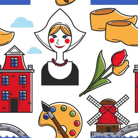 Netherlands symbols seamless pattern Holland traditions