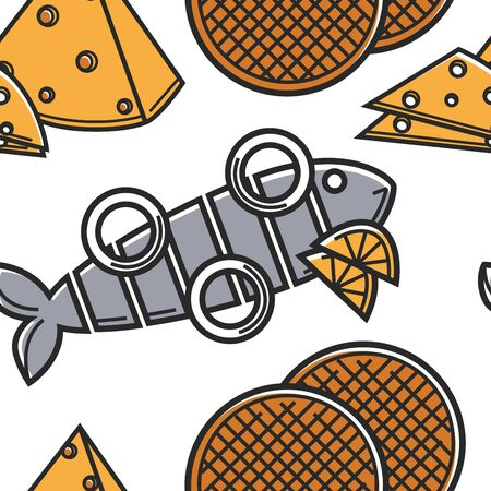 Holland food and cuisine seamless pattern seafood cheese and dessert Illustration