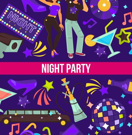 Night party dancing club disco ball and hookah Illustration