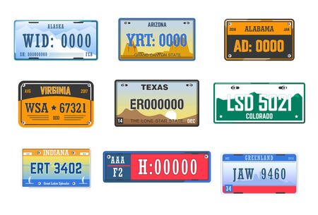 Number plates car license American states isolated icons Illustration