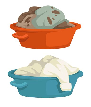 Clean and dirty laundry mud stains on clothes in basin