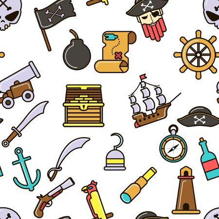 Nautical symbols pirate seamless pattern marine icons