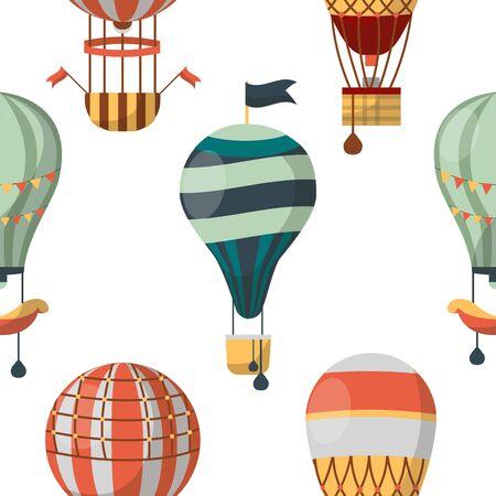 Air balloon aircraft or transport seamless pattern voyage