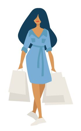 Woman on shopping with bags in denim dress isolated character Stock Illustratie