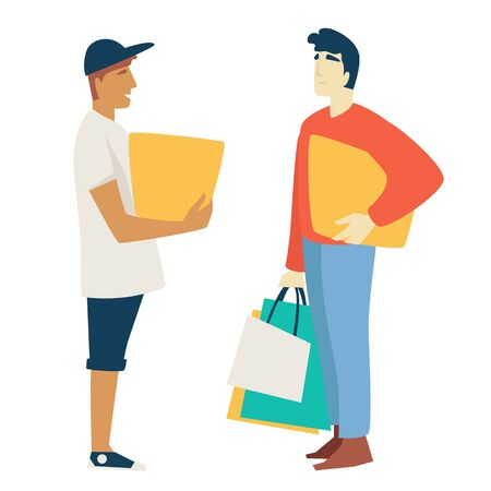 Shopping man with box or parcel and guy with bags or packs
