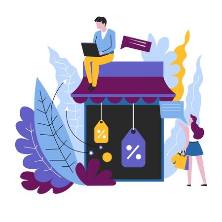 Online order Internet shop sale isolated abstract icon vector web store discount and price reduction tags with percentage symbols customer and seller shopping man with laptop and woman with bags