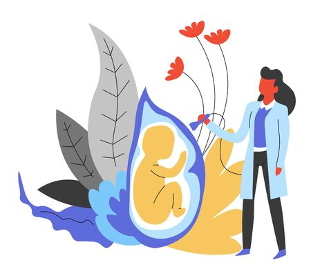 Medicine doctor gynecologist and pregnancy isolated abstract icon