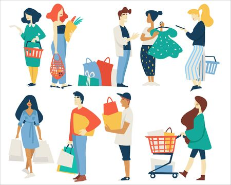 Shopping men and women with bags supermarket basket or cart