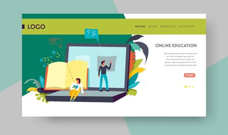 Online education web page template distant learning