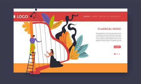 Classical music concert web page template harp musicians