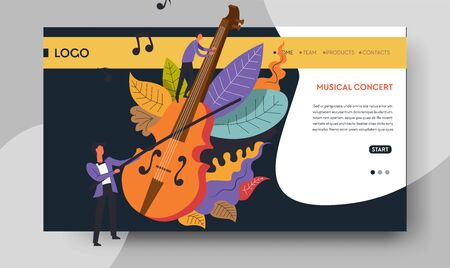 Violin and violinist web page templates music concert  イラスト・ベクター素材