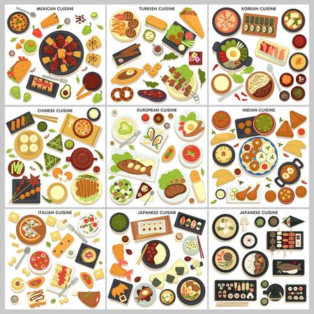 International cuisine menu food and cooking dishes traveling Ilustracja