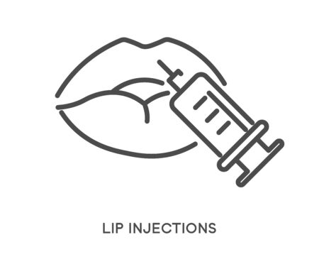 Lip injections cosmetic treatment with syringe icon and text Archivio Fotografico - 133232521