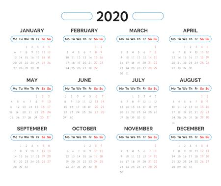 2020 year calendar monthly template. Week starts Monday. Clean, minimalistic and sophisticated design for business, planning. Flat graphic vector in blue, red colors on white background.