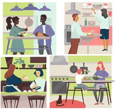 Cooking together. Couples, friends, parent with kid, mom and son cook, prepare homemade meal. Baking in kitchen, having dinner at home. Family sharing chores, indoors activity vector illustrations.