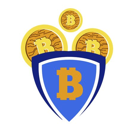 Bitcoin or gold coins with bit symbol for cryptocurrency