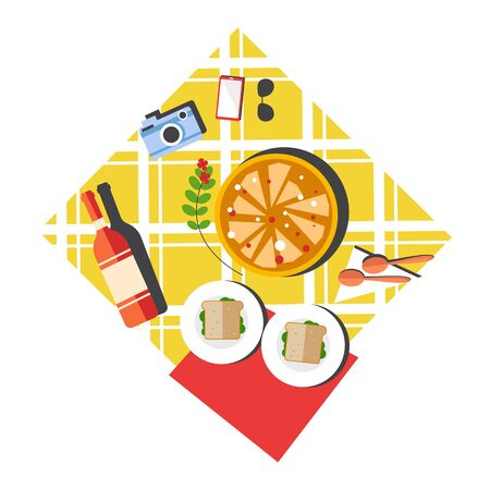 Picnic layout top view with pizza and red wine bottle Ilustrace