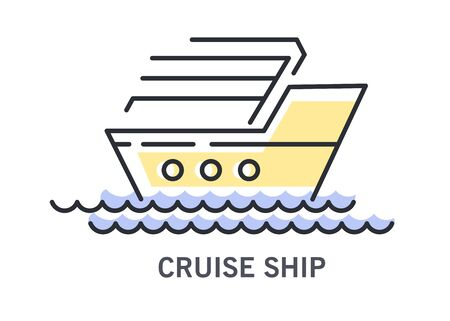 Cruise ship or sailboat on waves icon with text Ilustracja