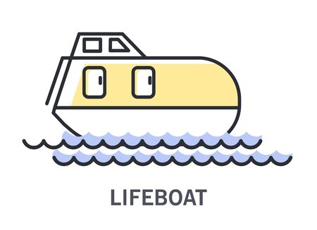 Lifeboat on waves icon with enclosed rescue vessel Illustration